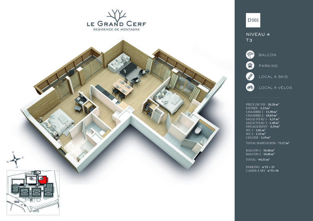 Buy Appartement New 3 Rooms 7117 M² 622000 Les Carroz Daraches 74300 Le Grand Cerf