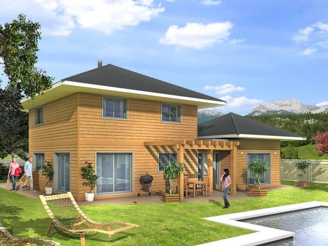 Mod le bea 4 chambres m avec garage construction maisons ossature bois en haute savoie for Construction bois 49